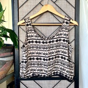 Chocolate Tribal Print Black Cream Tank Small